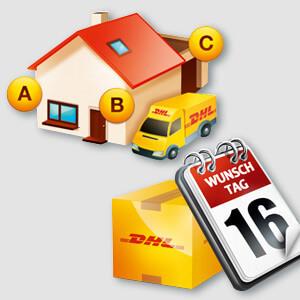 Collage aus einem DHL Wunschpaket, einem Haus und einem Lieferfahrzeug