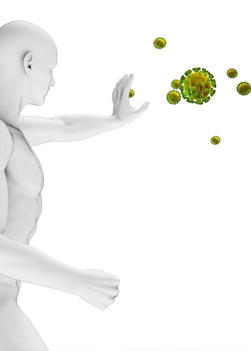 Karikatur von einem Mann, der mit seinen Händen Bakterien abwehrt