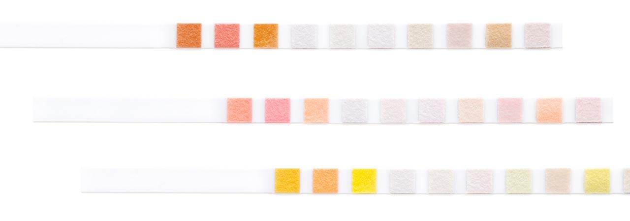 Teststreifen in verschiedenen Farben
